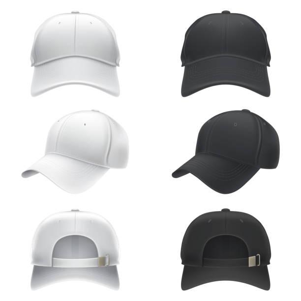 bildbanksillustrationer, clip art samt tecknat material och ikoner med vektor realistisk illustration av en vit och svart textil baseball cap framsidan, baksidan och sidoutsikt - hatt
