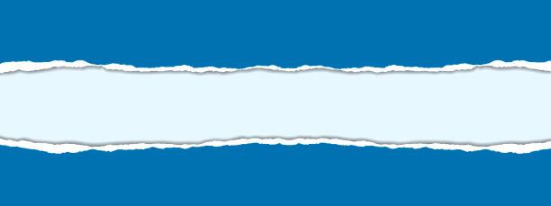 realistische vektor-illustration der blauen zerrissenes papier auf weißem hintergrund mit rahmen für text - zerrissen stock-grafiken, -clipart, -cartoons und -symbole