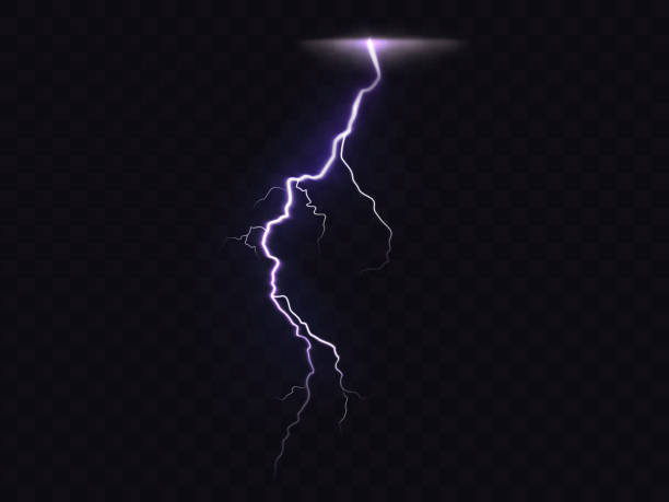 3D vector realistic illustration of lightning Vector illustration of 3d realistic lightning or thunderbolt isolated on dark translucent background. Bright flash of light, electrical discharge during thunderstorm, a natural phenomenon thunderstorm stock illustrations