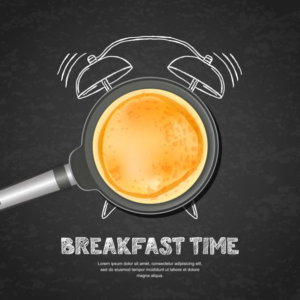 bildbanksillustrationer, clip art samt tecknat material och ikoner med vektor realistisk illustration av pan med pannkaka och hand dras väckarklocka på svarta tavlan skiffer bakgrund. - crepe