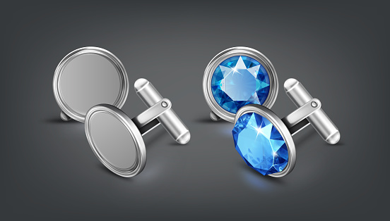Vector realistic illustration of two pair silver or chrome cufflinks with blue gem isolated on background