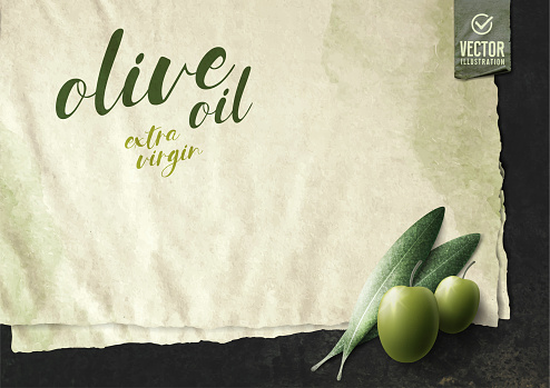 Vector realistic illustration. Olive leaves and paper on black stone.