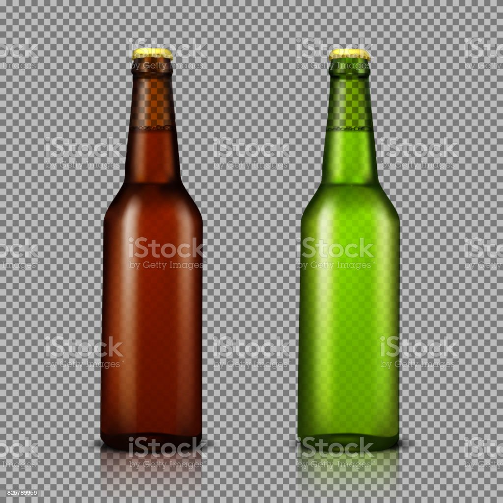 Vector realistic illustration set of transparent glass bottles with drinks, ready for branding vector art illustration