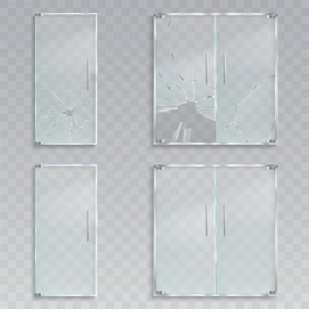 illustrations, cliparts, dessins animés et icônes de des illustrations réalistes vecteur d'une disposition d'une porte de verre avec du métal poignées indemne et brisé le verre - vitrine magasin