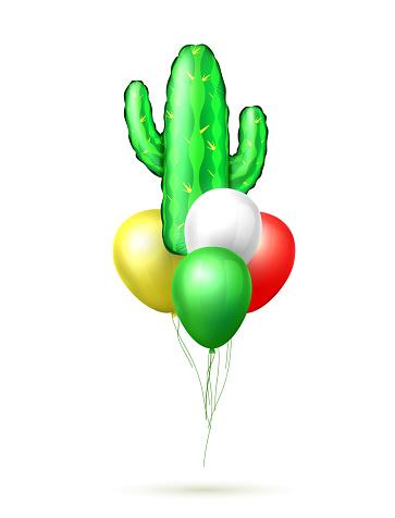 Vector realistic inflatable cactus air balloon