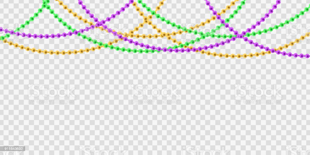 Vector realistic isolated beads for Mardi Gras for decoration and covering on the transparent background. Concept of Happy Mardi Gras. vector art illustration