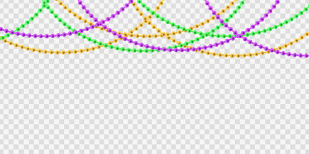 Vector realistic isolated beads for Mardi Gras for decoration and covering on the transparent background. Concept of Happy Mardi Gras. Vector realistic isolated beads for Mardi Gras for decoration and covering on the transparent background. Concept of Happy Mardi Gras. bead stock illustrations