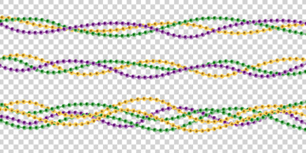 vector realistic isolated beads for mardi gras for decoration and covering on the transparent background. concept of happy mardi gras. - mardi gras stock illustrations, clip art, cartoons, & icons