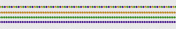 vector realistic isolated beads for mardi gras for decoration and covering on the transparent background. concept of happy mardi gras. - bead stock illustrations, clip art, cartoons, & icons