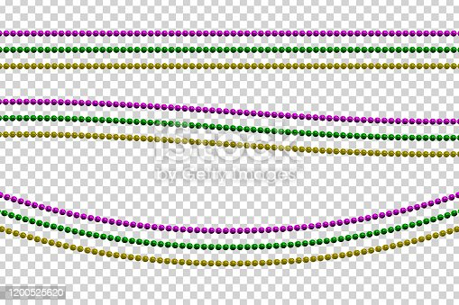 Vector realistic isolated beads for Mardi Gras for template decoration and covering on the transparent background. Concept of Happy Mardi Gras.