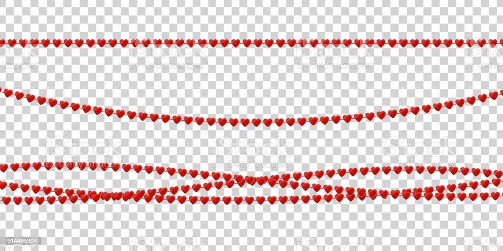 Vector realistic isolated beads with heart shape for Valentine's Day for decoration and covering on the transparent background. Concept of Happy Valentine's Day and romantic event. vector art illustration