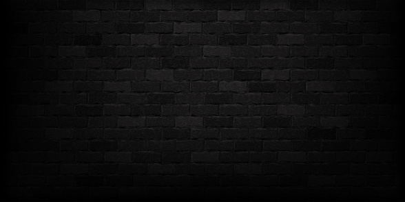 Vector realistic isolated black brick wall background for template and layout decoration.