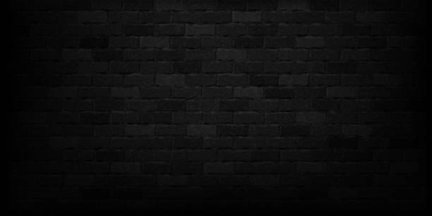 Vector realistic isolated black brick wall background for template and layout decoration. vector art illustration