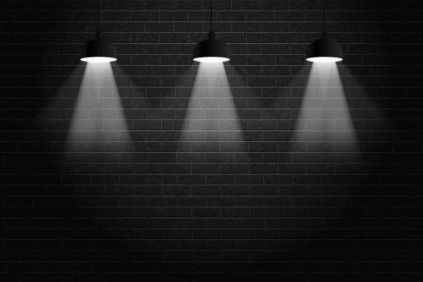 Vector realistic isolated black brick wall background with ceiling lamps for decoration and covering. Concept of spotlight and exhibition. vector art illustration