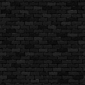 Vector realistic isolated black brick wall seamless pattern background for template and wallpaper decoration.