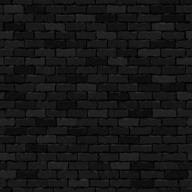 illustrazioni stock, clip art, cartoni animati e icone di tendenza di vector realistic isolated black brick wall seamless pattern background for template and wallpaper decoration. - marciapiede