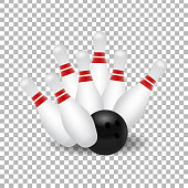 Vector realistic isolated bowling skittle and ball strike for decoration and covering on the transparent background.
