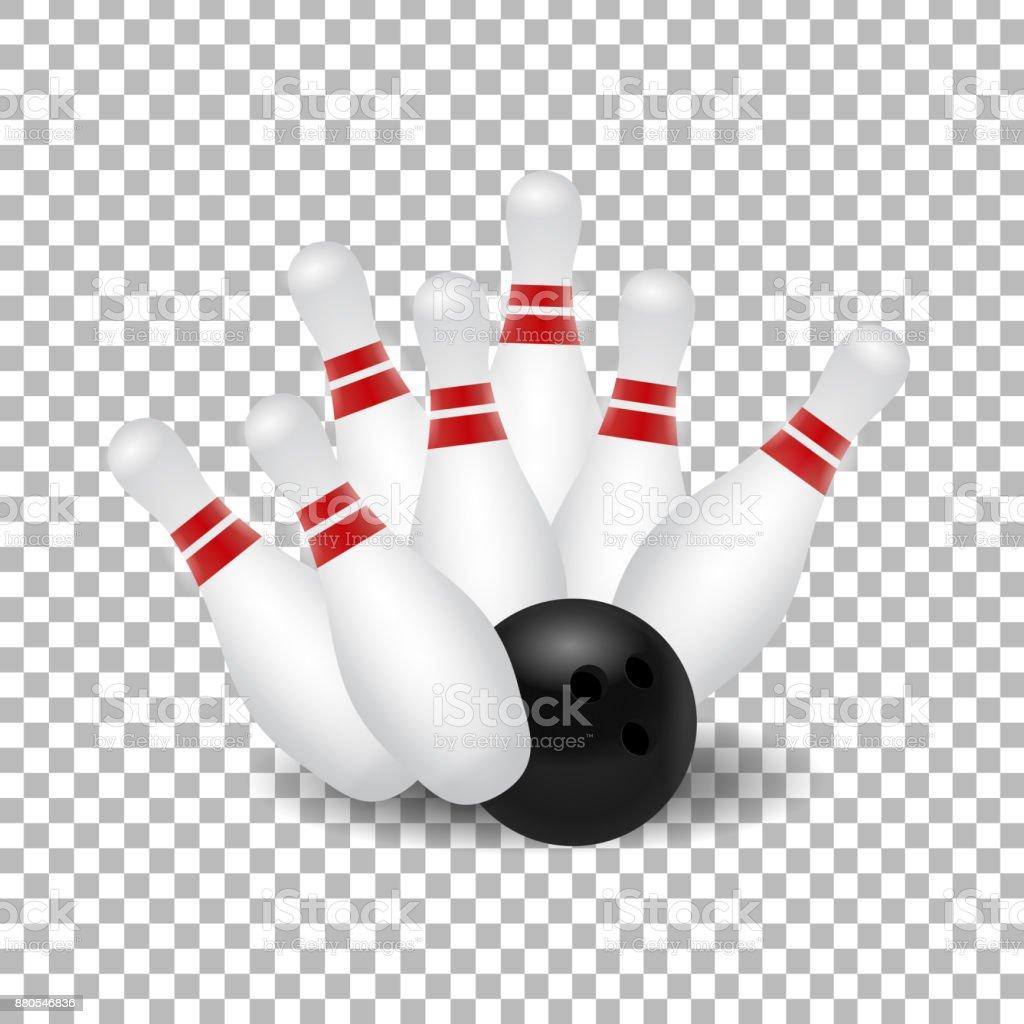 Vektor realistische isoliert Bowling Kegel und Kugel schlagen für Dekoration und Verkleidung auf dem transparenten Hintergrund. – Vektorgrafik