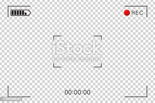 istock Vector realistic isolated camcorder video screen frame for decoration and covering on the transparent background. Concept of cinema, photography and video scene. 1005698052
