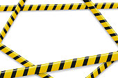 Vector realistic isolated caution tape frame for decoration and covering on the white background. Concept of barricade, danger and crime.