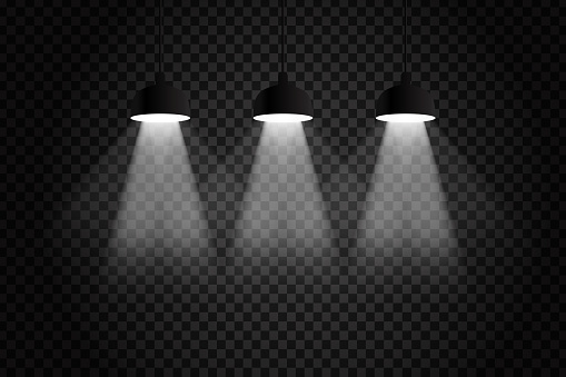 Vector realistic isolated ceiling lamps for decoration and covering on the transparent background.