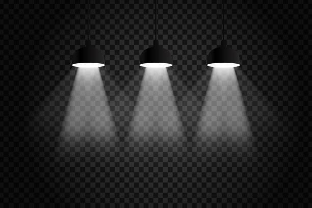 vektor realistische isoliert decken-lampen für die dekoration und decken auf dem transparenten hintergrund. - dachboden stock-grafiken, -clipart, -cartoons und -symbole