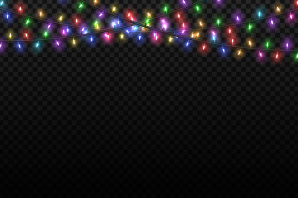 vector realistic isolated christmas fairy lights for template decoration and layout covering on the transparent background. concept of happy new year. - oświetlenie bożonarodzeniowe stock illustrations