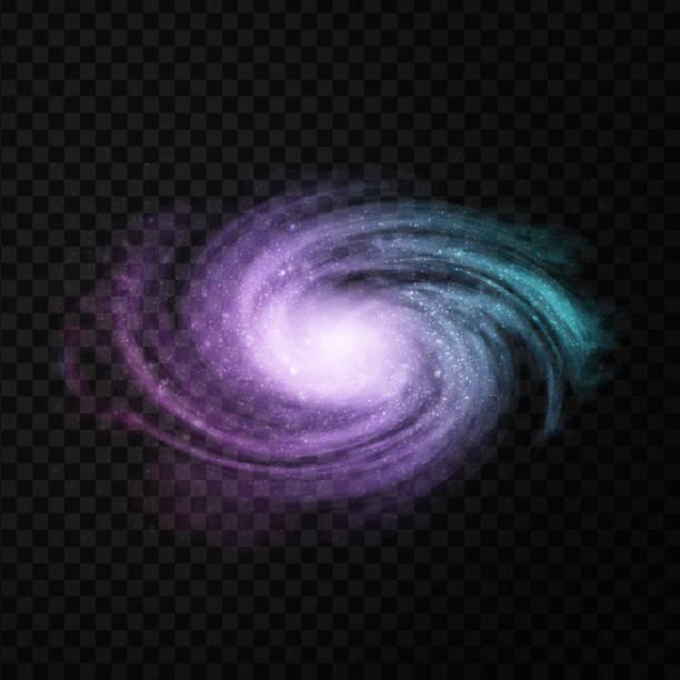 bildbanksillustrationer, clip art samt tecknat material och ikoner med vector realistiska isolerade kosmiska galaxy på den genomskinliga bakgrunden för dekoration och beläggning. begreppet utrymme, nebulosa och kosmos. - earth from space