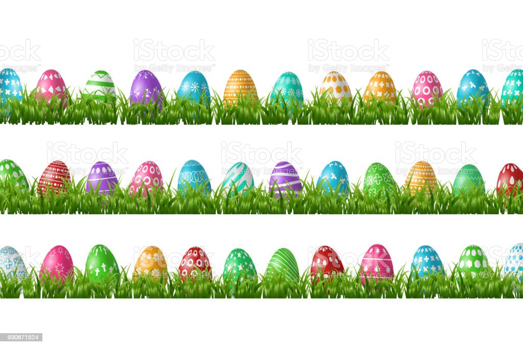 Vector realistic isolated easter eggs in grass borders for decoration and covering on the white background. Concept of Happy Easter. vector art illustration