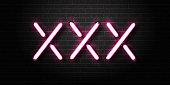 Vector realistic isolated erotic neon sign of XXX for decoration and covering on the wall background.