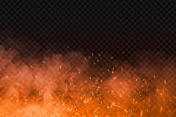 vector realistic isolated fire effect with smoke for decoration and covering on the transparent background. concept of sparkles, flame and light. - spark stock illustrations