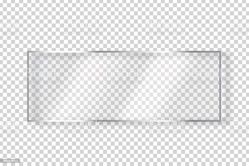 ベクトル現実的な分離ガラス四角形看板装飾の透明な背景の上でカバーします。 ベクターアートイラスト