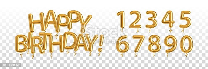 istock Vector realistic isolated golden balloon text of Happy Birthday with set of numbers on the transparent background. Concept of celebration and anniversary. 1319638973