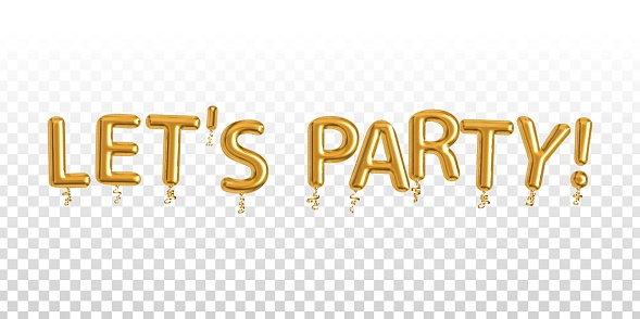 Vector realistic isolated golden balloon text of Let's Party on the transparent background.