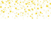 Vector realistic isolated golden stars confetti for decoration and covering on the white background. Concept of happy holiday and party.