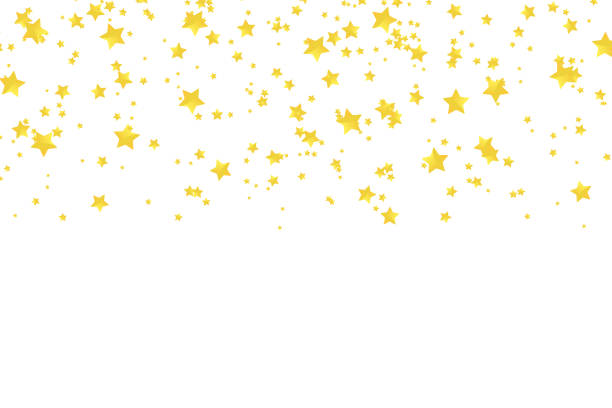 Vector realistic isolated golden stars confetti for decoration and covering on the white background. Concept of happy holiday and party. Vector realistic isolated golden stars confetti for decoration and covering on the white background. Concept of happy holiday and party. celebrities stock illustrations