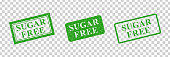 Vector realistic isolated green rubber stamp of Sugar Free symbol for template decoration on the transparent background.