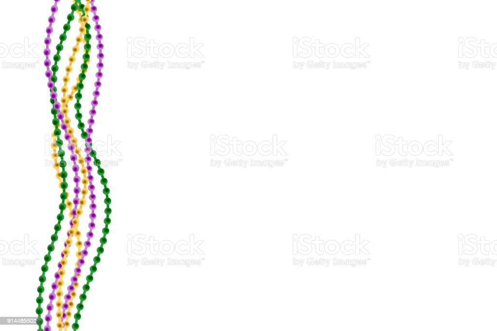 Vector realistic isolated greeting card template with beads for Mardi Gras for decoration and covering on the white background. Concept of Happy Mardi Gras. vector art illustration