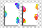 Vector realistic isolated greeting card with balloons decoration for celebration and covering on the transparent background. Concept of happy birthday, party and holidays.