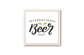 Vector realistic isolated greeting card with typography logo for International Beer Day for decoration and covering on the white background.