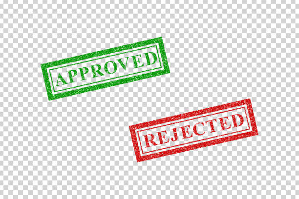 Vector realistic isolated grunge rubber stamp of Approved and Rejected for template decoration on the transparent background. Vector realistic isolated grunge rubber stamp of Approved and Rejected for template decoration on the transparent background. rejection stock illustrations