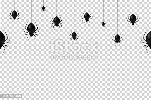 Vector realistic isolated hanging spiders seamless pattern for decoration and covering on the transparent background. Creepy background for Halloween.