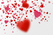 Vector realistic isolated heart confetti on the transparent background for decoration and covering.