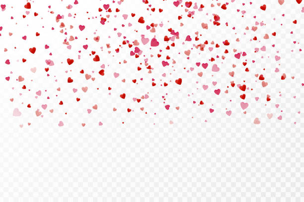 vector realistic isolated heart confetti on the transparent background for decoration and covering. concept of happy valentine's day, wedding and anniversary. - weddings background stock illustrations