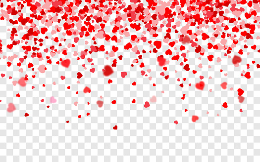 Vector realistic isolated heart confetti on transparent background for decoration and covering. Concept of Happy Valentine's Day, wedding and anniversary