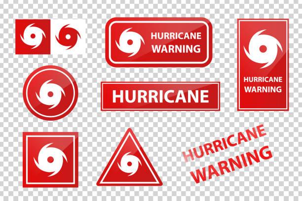 ilustraciones, imágenes clip art, dibujos animados e iconos de stock de señales de advertencia de huracán aislado realista de vector rojo sobre el fondo transparente. señales de advertencia de huracán aislado realista de vector rojo sobre el fondo transparente. - hurricane