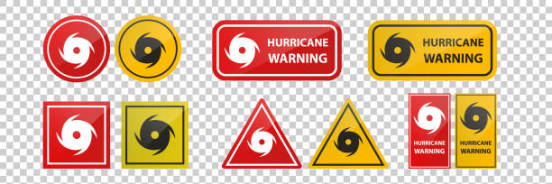 Vector realistic isolated hurricane warning red signs on the transparent background. vector art illustration