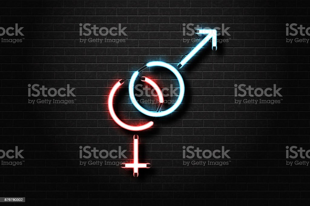Vector realistic isolated male and female sex neon sign for decoration and  covering on the wall background. Concept of sex shop and erotic show.