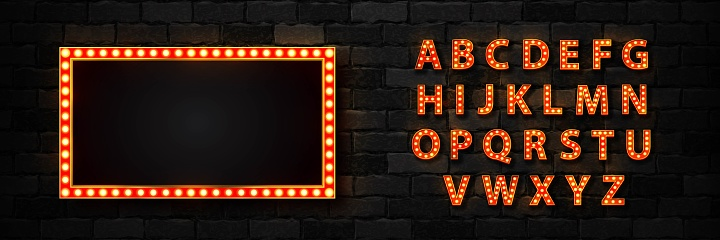 Vector realistic isolated marquee lightbox billboard with light bulb neon font for template decoration and invitation covering on the wall background. Concept of broadway and show.