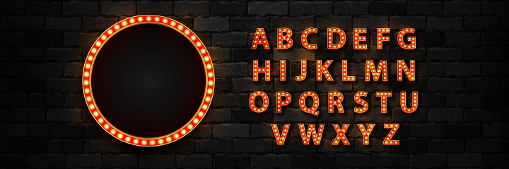 Vector realistic isolated marquee lightbox billboard with light bulb neon font for template decoration and invitation covering on the wall background.